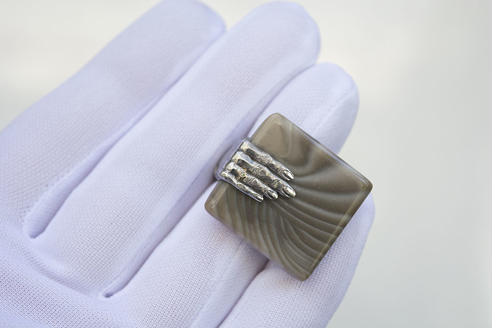 Diamond Hand | Silver Striped Flint Ring - product images  of