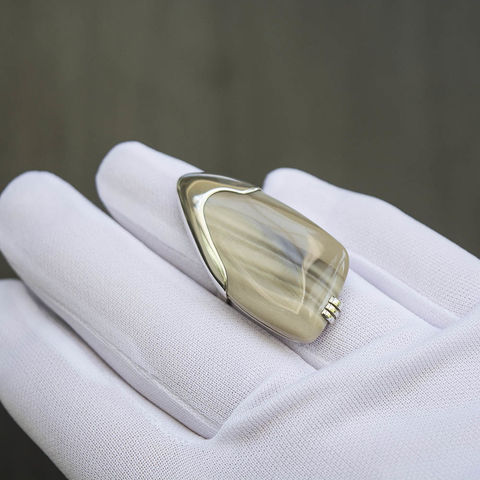 Striped,Flint,Silver,Ring,Striped Flint Ring, silver jewellery shop London, geometric jewellery