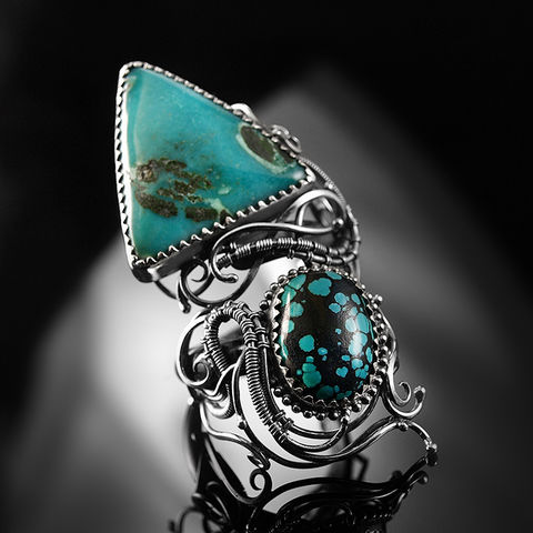 Rainye,|,SILVER,&,TURQUOISE,RING,Turquoise ring, silver statement ring, wire wrapping jewellery London