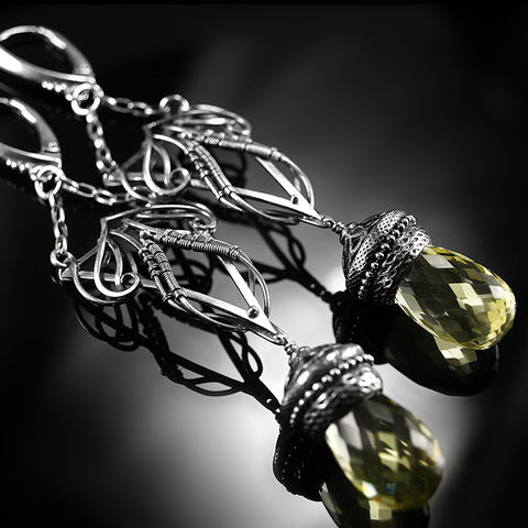 Serinye,|,SILVER,LEMON,QUARTZ,DROP,EARRINGS,Silver Drop Earrings, lemon quartz earrings, silver jewellery store