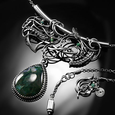 Fanness,|,SILVER,MOSS,AGATE,NECKLACE,Silver Necklace, moss agate necklace, silver jewellery store