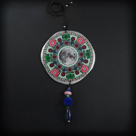 XXL,SPRING,MANDALA,|,ALUMINIUM,PENDANT,NECKLACE,WITH,JADE,aluminium pendant, mandala necklace, jade jewellery