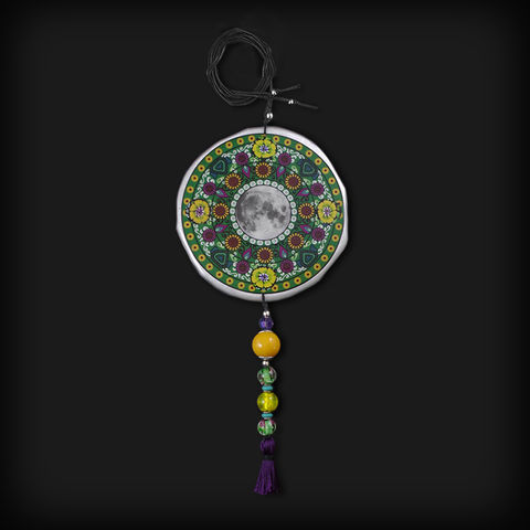 XXL,SUN,MANDALA,|,ALUMINIUM,PENDANT,NECKLACE,WITH,JADE,Mandala pendant, aluminium jewellery London, jade necklace