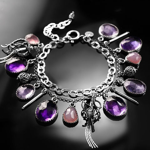 Nivai,|,Silver,Wire-wrapped,Bracelet,With,Amethyst,&,Rose,Quartz,Silver Wire-wrapped Bracelet, amethyst jewellery,  Rose Quartz, contemporary jewellery shop London
