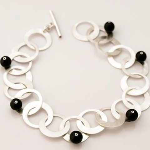 SILVER,CHAIN,BRACELET,With,Black,MARBLE,Silver Chain Bracelet, marble bracelet, bespoke silver jewellery london