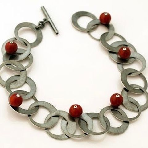 SILVER,CHAIN,BRACELET,With,Red,CORALS,Silver Chain Bracelet, red coral bracelet, bespoke silver jewellery