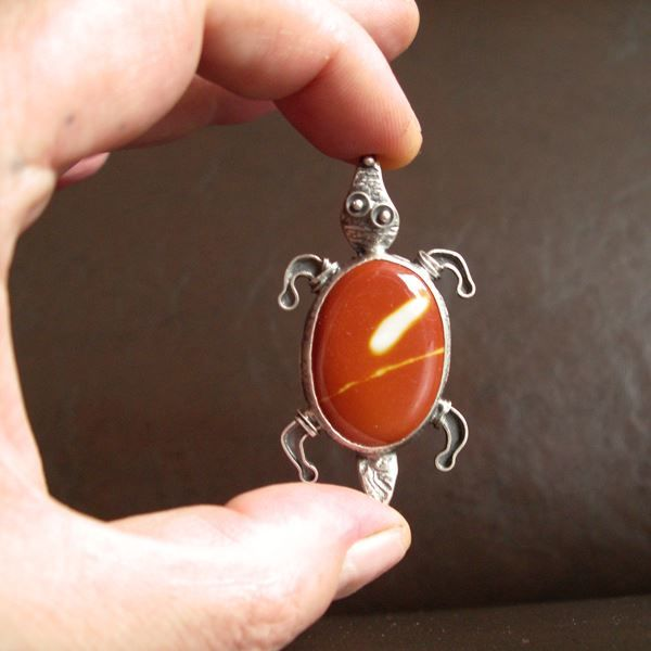 Albin | Silver Red Jasper Turtle Pendant - product images  of