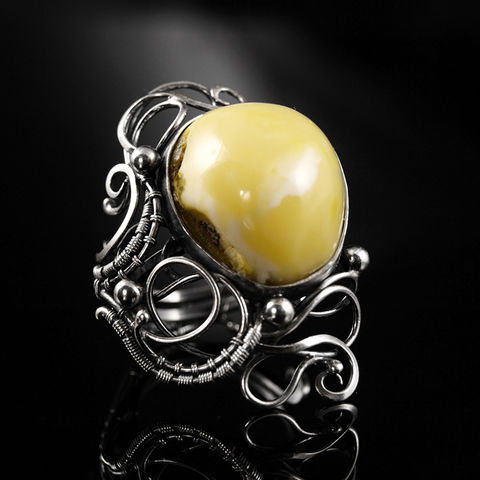 Callidore,|,STERLING,SILVER,RING,With,AMBER,Sterling Silver Ring With Amber, jewellery online store, amber ring