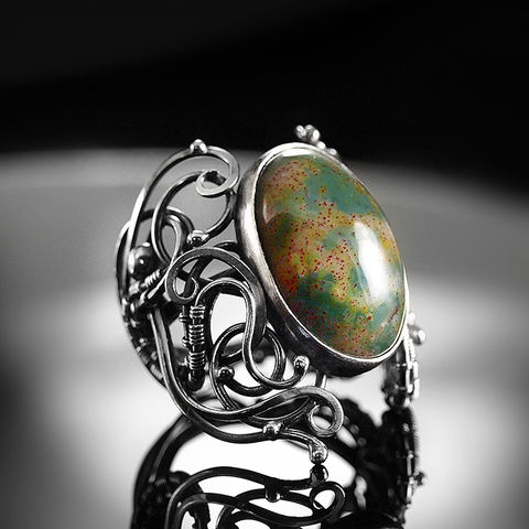 Boadicea,|,SILVER,BLOOD,AGATE,RING,Silver Ring, blood agate ring, unique jewellery store