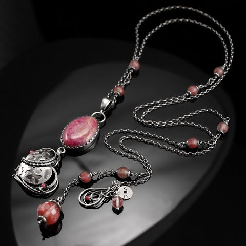 Aimer,|,SILVER,WIRE,WRAPPED,NECKLACE,With,RHODONITE,,QUARTZ,Silver Wire Wrapped Necklace With Rhodonite, Silver Jewellery
