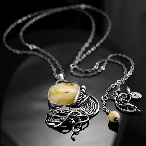 Vipère,|,STERLING,SILVER,NECKLACE,With,AMBER,Sterling Silver Necklace With Amber, silver jewellery online, amber necklace