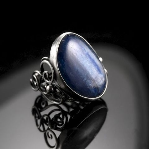 Nevia,|,SILVER,RING,With,KYANITE,Silver Ring With Kyanite, wire work silver jewellery