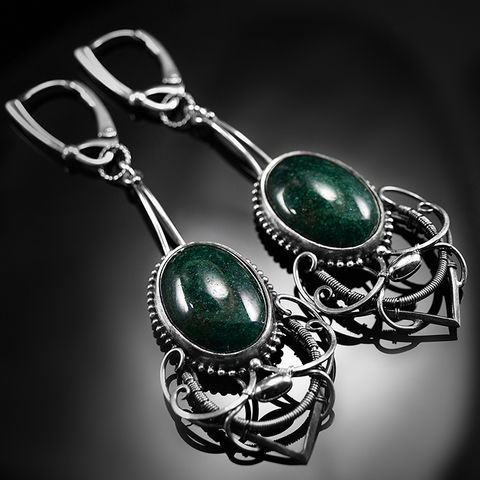 Levonne,|,Sterling,Silver,&,Green,Aventurine,Wire-wrapped,Earrings,Sterling Silver Wire-wrapped Earrings, green aventurine cabochons, fancy jewellery shop