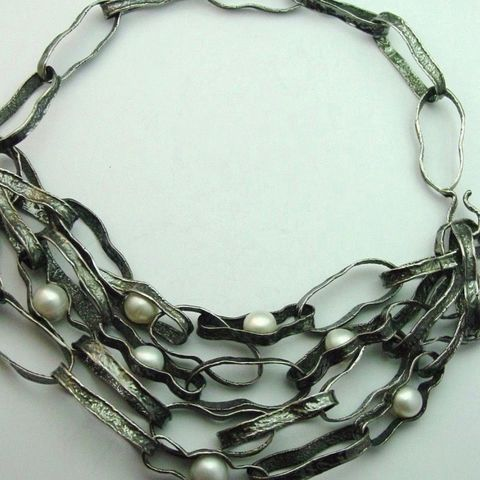 IM,VIII,|,SILVER,CHAIN,NECKLACE,With,PEARLS,Silver Chain Necklace With Pearls, unique handmade jewellery
