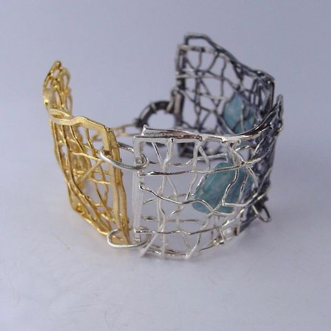 IM,VII,|,GOLD,PLATED,SILVER,BRACELET,With,AQUAMARINE,Gold Plated Silver Bracelet, aquamarine bracelet, bespoke silver jewellery