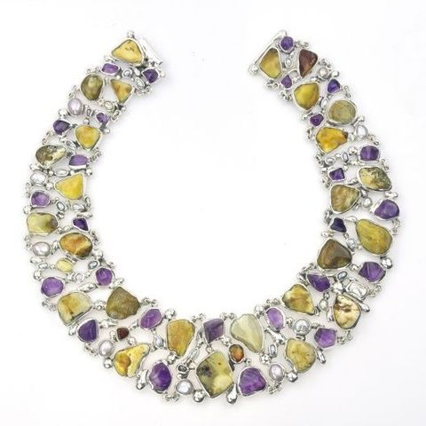 OTTIMO,|,SILVER,COLLAR,NECKLACE,With,AMETHYST,&,AMBER,Silver Amethyst Collar Necklace, amber necklace, bespoke jewellery