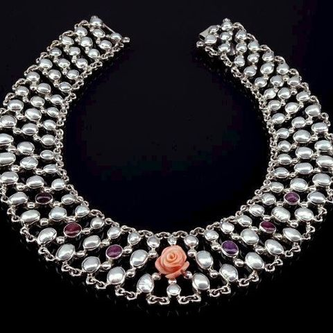 Rosarium,Fantin,Latour,|,SILVER,NECKLACE,With,PEARLS,,RUBY,&,CORAL,Silver Necklace With Pearls Ruby And Coral, bespoke jewellery