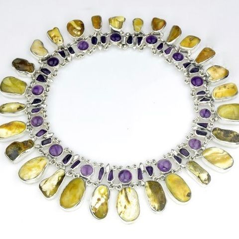 Nefretiti,III,|,SILVER,NECKLACE,With,AMBER,&,AMETHYST,Silver Necklace With Amber And Amethyst, handmade silver jewellery uk