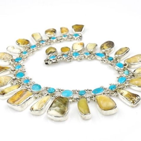 Nefretiti,IV,|,SILVER,AMBER,COLLAR,NECKLACE,With,TURQUOISE,Silver Amber Necklace, turquoise collar, jewellery online store