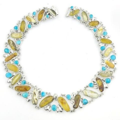 Mesa,|,SILVER,BIB,NECKLACE,With,AMBER,&,TURQUOISE,Silver Turquoise Bib Necklace, amber necklace, handmade bespoke jewellery