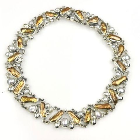 Ninette,|,SILVER,COLLAR,NECKLACE,With,White,&,GOLDEN,PEARLS,Silver Collar Necklace, white and golden pearls, bespoke jewellery online