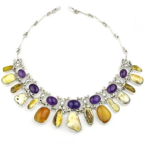 SILVER,AMBER,COLLAR,NECKLACE,With,AMETHYST,Silver Amber Necklace, amethyst collar, luxury silver jewellery