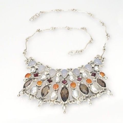 Daisy,Princess,of,Pless,II,|,SILVER,PEARLS,&,GEMSTONES,BIB,NECKLACE,Silver Pearls Bib Necklace, gemstones necklace, luxury silver jewellery