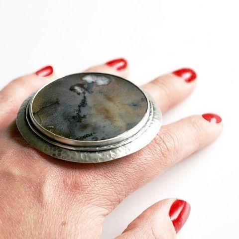 Orpheus,|,SILVER,AGATE,STATEMENT,RING,Silver Agate Statement Ring, SILVER Jewellery