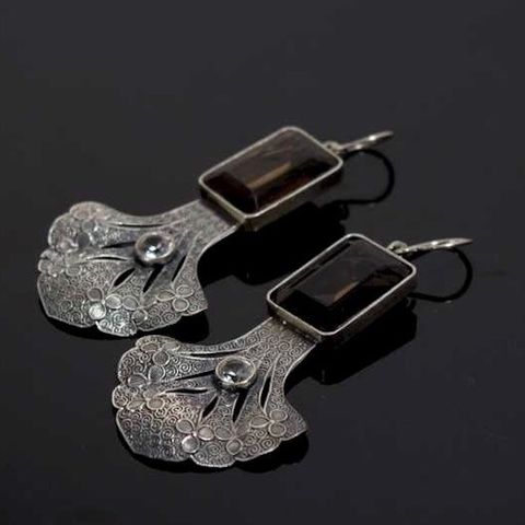 Milonga,de,Amor,|,SILVER,EARRINGS,With,SMOKEY,QUARTZ,Silver Earrings With Sapphire, smoky quartz earrings, bespoke filigree jewellery