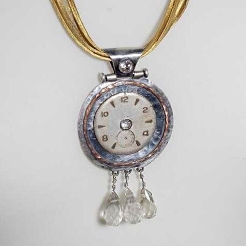 Panta,Rhei,II,|,SILVER,PENDANT,With,GEMSTONES,&,CLOCK-FACE,Silver Pendant With Gemstones, clock face pendant, steampunk jewellery