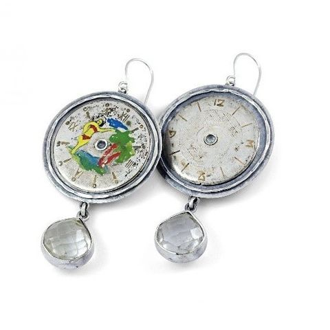Panta,Rhei,VI,|,SILVER,DANGLE,EARRINGS,With,CLOCK,FACES,Silver Dangle Earrings, clock face earrings, steampunk jewellery
