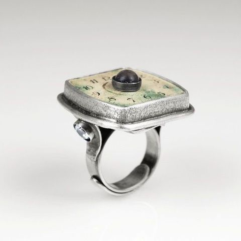Panta,Rhei,II,|,SILVER,RING,With,CLOCK,FACE,&,GEMSTONES,Silver Ring With Gemstones, clock face ring, steampunk jewellery