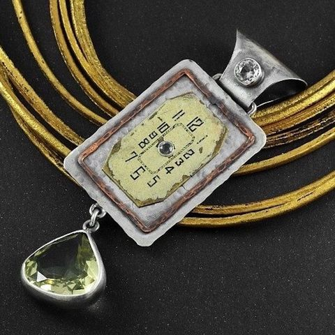 Panta,Rhei,|,SILVER,PENDANT,With,CITRINE,&,Clock,Face,Silver  Pendant With Citrine, clock face pendant, steampunk jewellery