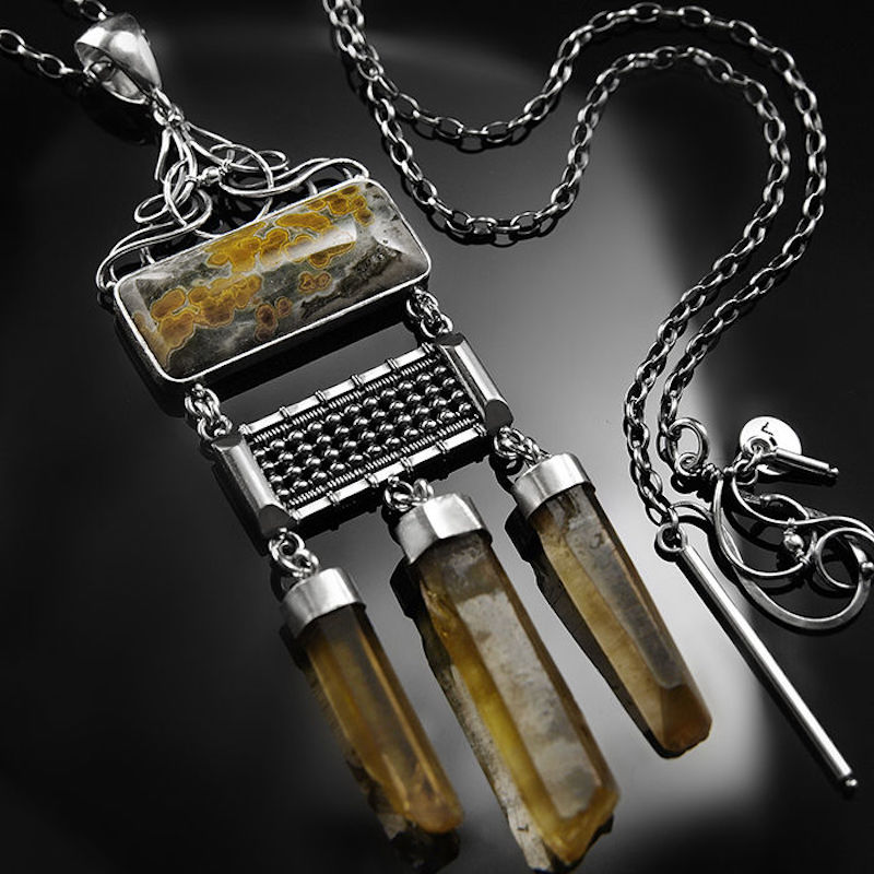 Bavrynn | Sterling Silver Ocean Jasper & Citrine Wire-wrapped Necklace