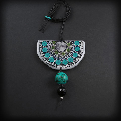 MOON,MANDALA,ALUMINIUM,PENDANT,NECKLACE,WITH,TURQUOISE,Turquoise Pendant, aluminium necklace, handmade jewellery shop