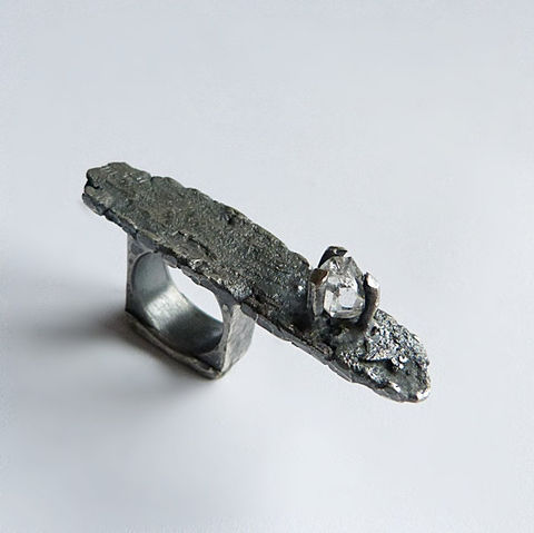 Herkimer,Diamond,Sterling,Silver,Ring,Herkimer diamond ring, raw sterling silver, statement ring , modernist brutalist jewellery store, organic ring