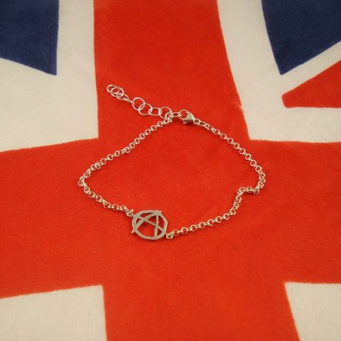 ANARCHY,SILVER,CHAIN,BRACELET,Anarchy Silver Bracelet, silver chain bracelet, punk rock jewellery