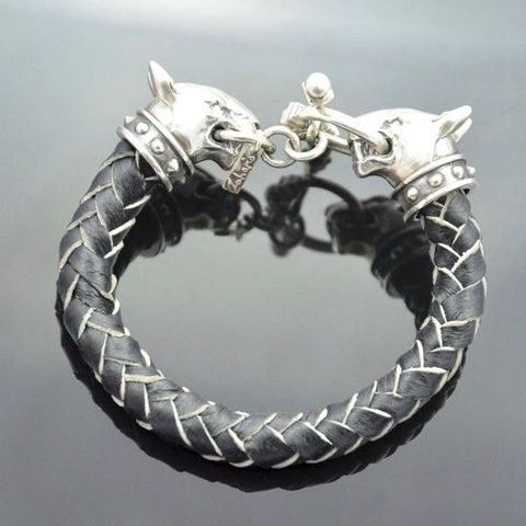 Bullterriers,|,SILVER,&,LEATHER,WRAPPED,BRACELET,Leather Wrapped Bracelet, bullterriers bracelet, silver bespoke jewellery