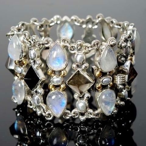 Gizeh,|,SILVER,BRACELET,With,GEMSTONES,&,PEARL,SILVER Bracelet With Moonstone, gemstones jewellery