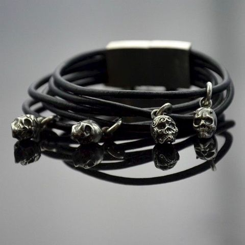 Headhunter,|,SILVER,&,LEATHER,WRAPPED,BRACELET,Leather Wrapped Bracelet, silver skulls bracelet, bespoke designer jewellery uk