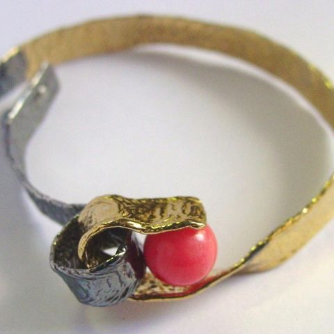 IM,XIX,|,SILVER,GOLD,PLATED,CUFF,BRACELET,With,CORAL,Silver Gold Plated Cuff, coral bracelet, bespoke jewellery