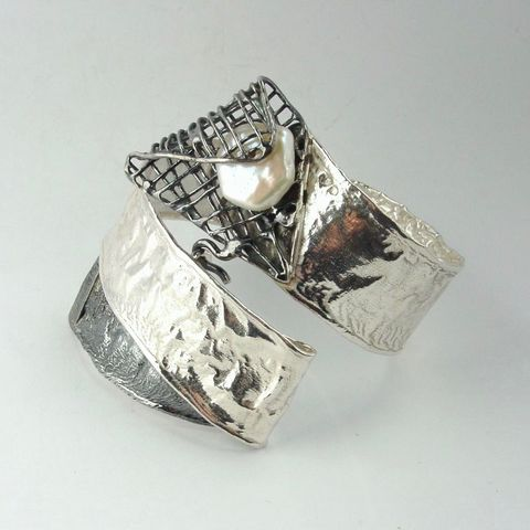 IM,XV,|,SILVER,CUFF,BRACELET,With,PEARL,Silver Cuff, pearl bracelet, bespoke silver jewellery