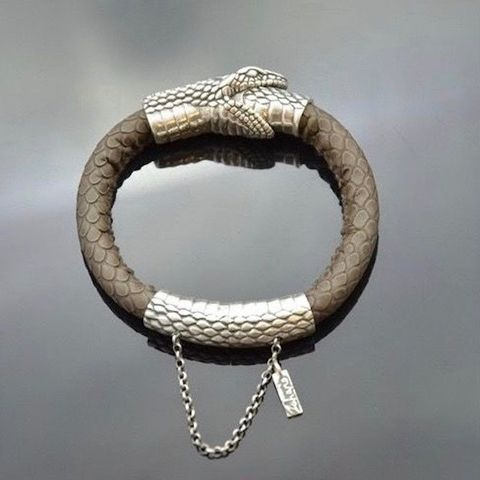 Snake,Uroboros,LEATHER,WRAPPED,BRACELET,With,SILVER,Leather Wrapped Bracelet, silver snake bracelet, bespoke handmade jewellery