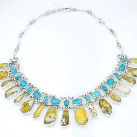 Nogales,|,SILVER,NECKLACE,With,AMBER,&,TURQUOISE,Silver Necklace With Amber And Turquoise, statement amber jewellery