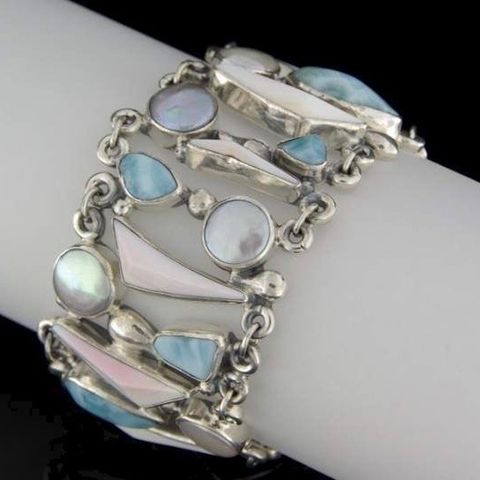 Punta,Cana,|,SILVER,BRACELET,With,LARIMAR,,PEARL,&,MOTHER,OF,Silver Bracelet With Larimar, Silver designer jewellery london