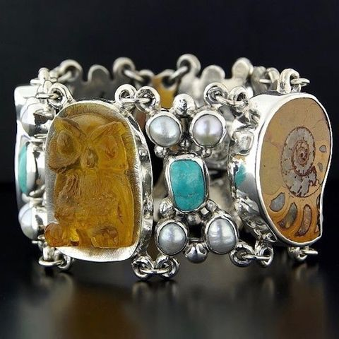 Owl,|,SILVER,BRACELET,With,AMBER,,GEMSTONES,&,PEARLS,Silver Bracelet With Amber, owl bracelet, sculptured jewellery