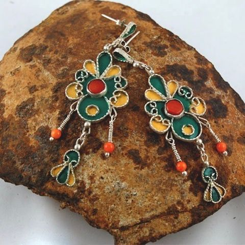 Berber,ENAMELLED,SILVER,EARRINGS,With,CORAL,Enamelled Silver Earrings, coral earrings, Tuareg jewellery