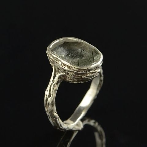 RUTILATED,QUARTZ,SILVER,RING,Rutilated Quartz Silver Ring, silver handmade jewellery London