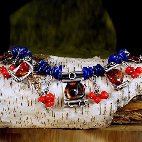 Energetic,Colours,|,Silver,Necklace,With,Baltic,Amber,,Lapis,Lazuli,And,Coral,Silver Baltic Amber Necklace, Lapis Lazuli, Coral, artisan silver jewellery, bohemian necklace