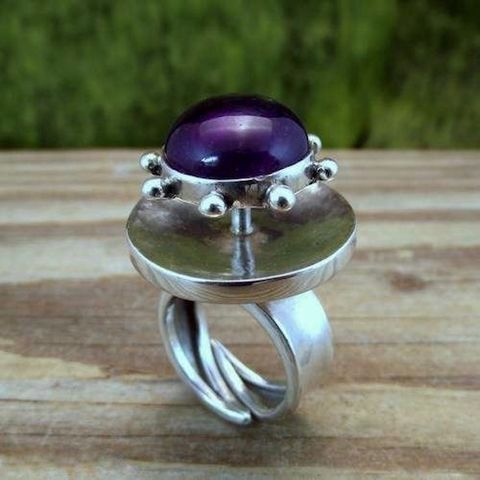 Himself,A,Rudder,|,SILVER,AMETHYST,RING,Silver Amethyst Ring, statement gemstone jewellery, bohemian statement ring